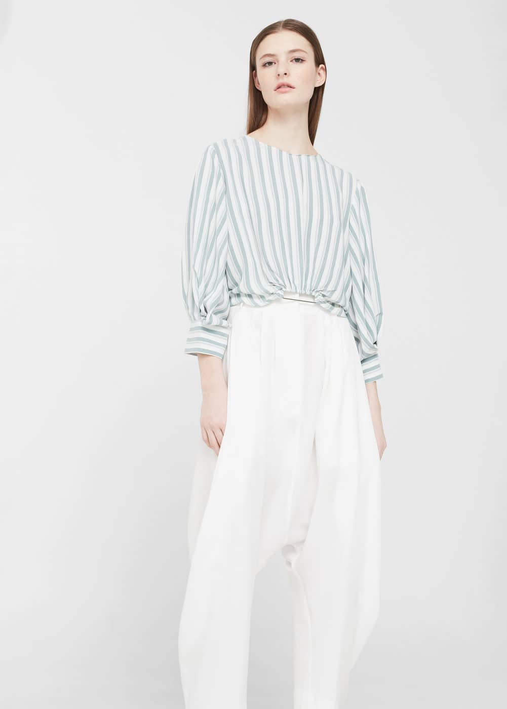 Stripe crop blouse | MANGO