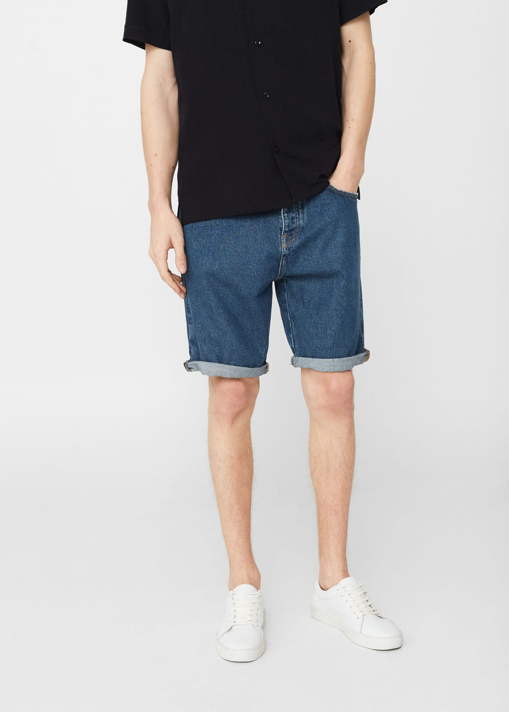 Dark denim bermuda shorts | MANGO