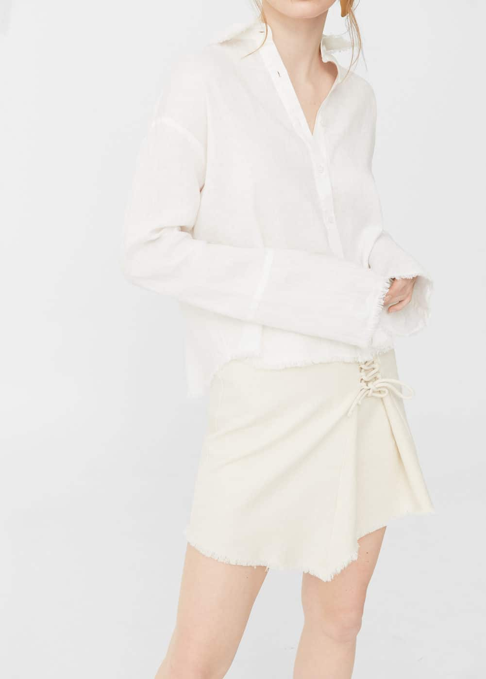 Frayed linen shirt | MANGO