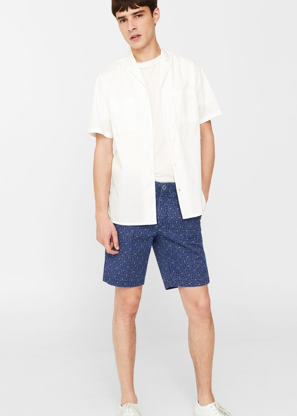 Printed cotton bermuda shorts | MANGO MAN