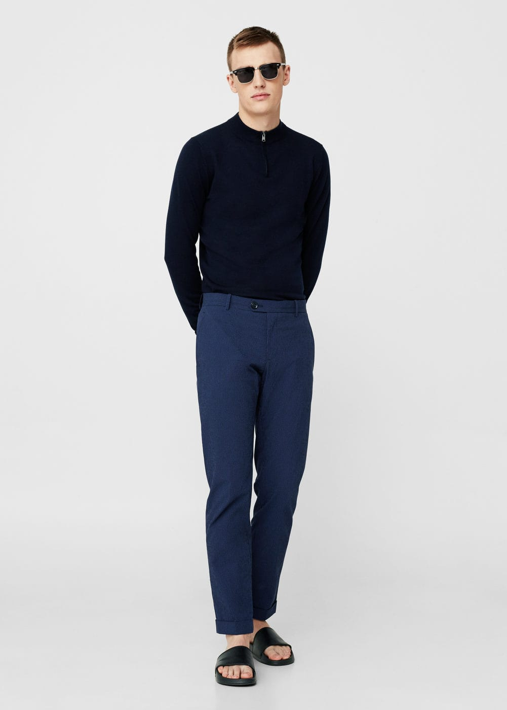 Textured cotton trousers | MANGO