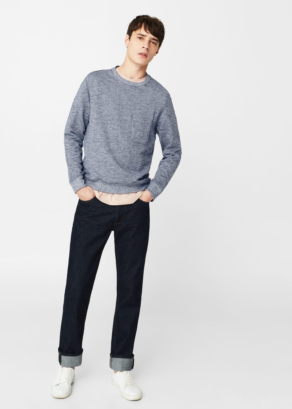 Flecked cotton-blend sweatshirt | MANGO