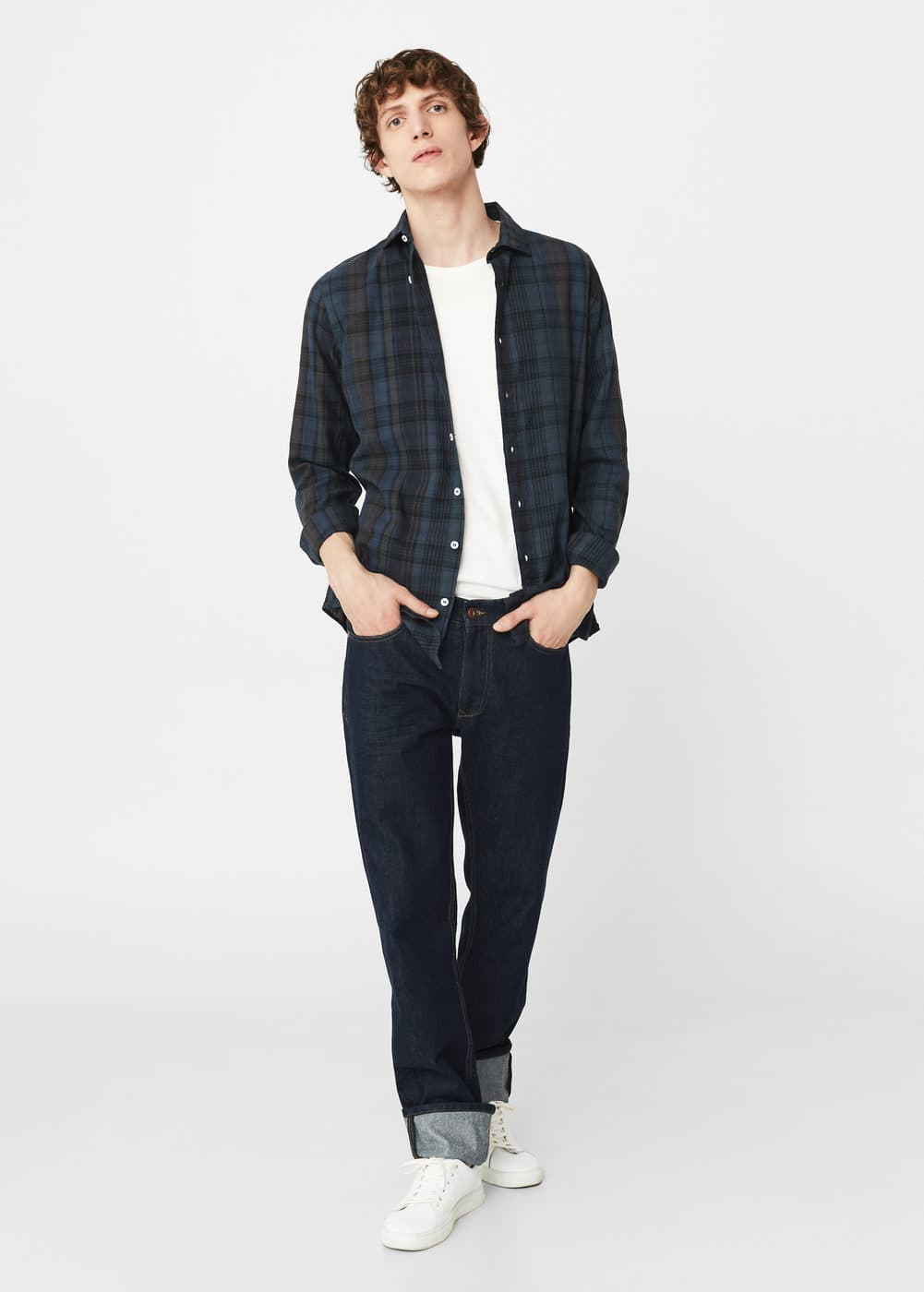 Slim-fit check linen shirt | MANGO