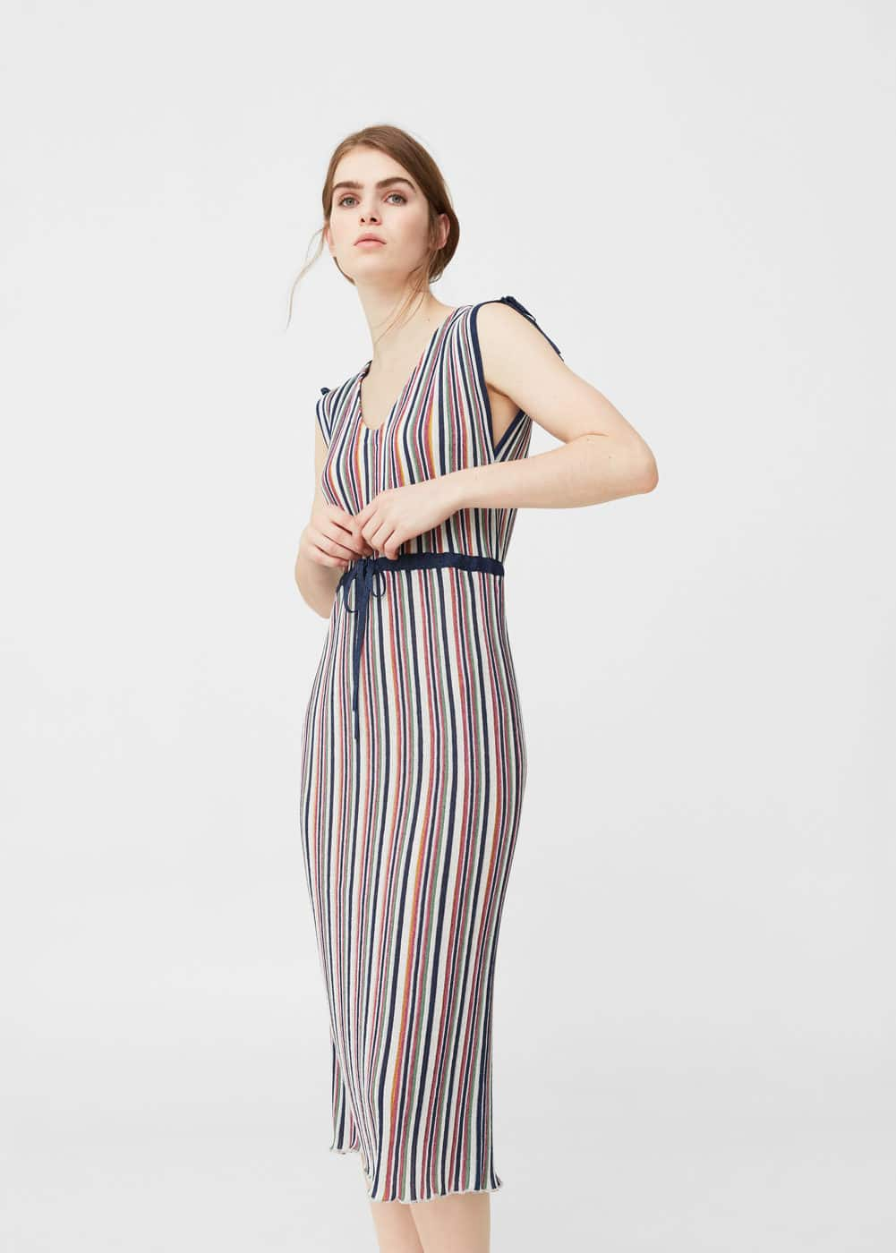 Metallic striped dress | MANGO