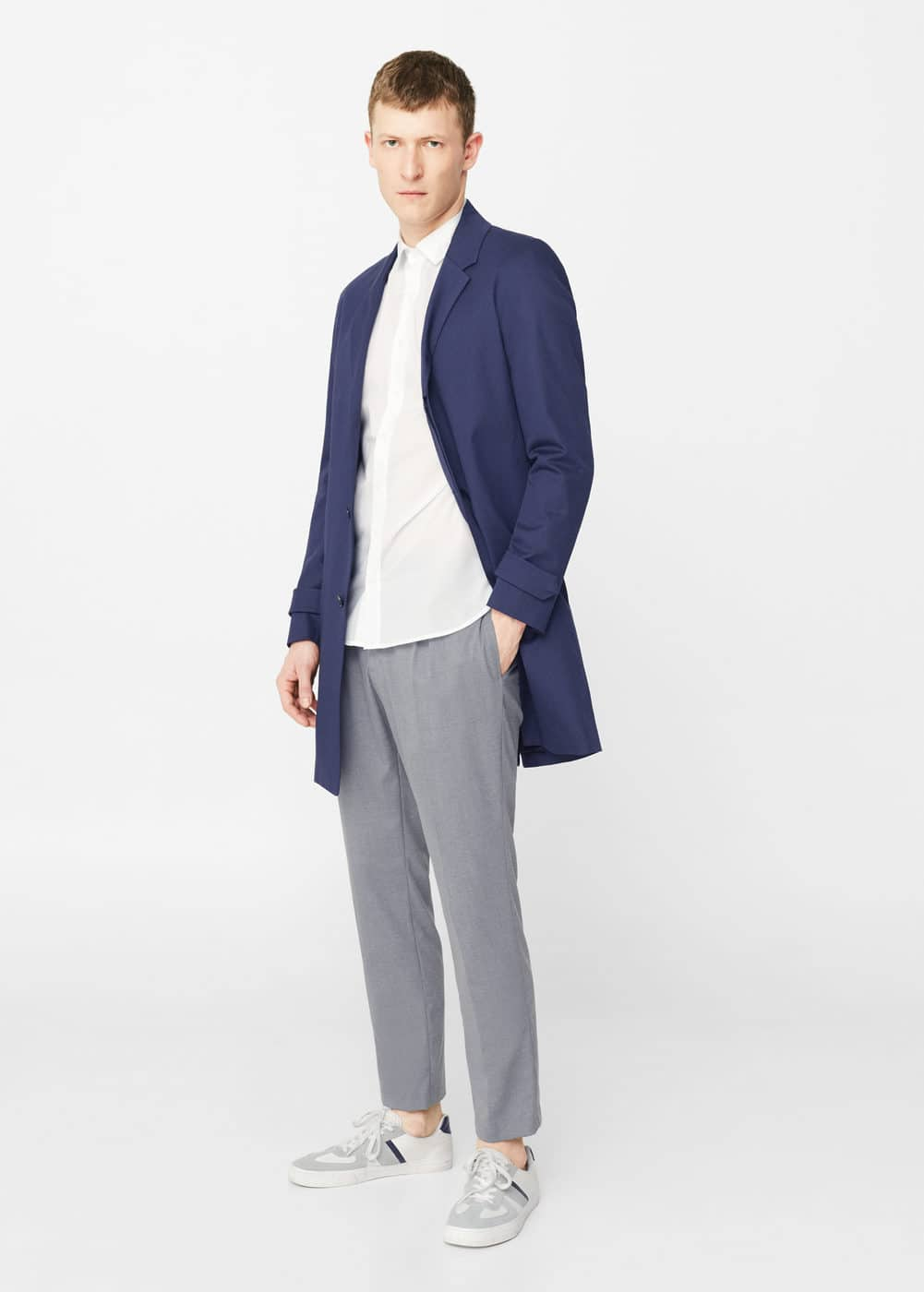 Cotton lapel trench | MANGO MAN