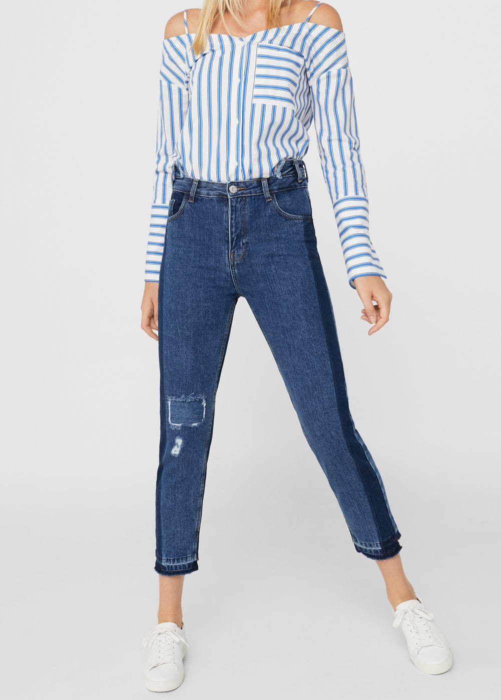 Straight jeans mom mit kontrastdetail | MANGO