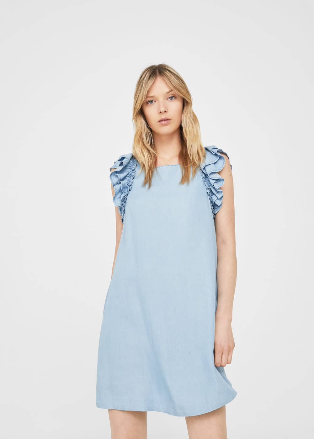 Robe denim volants | MANGO