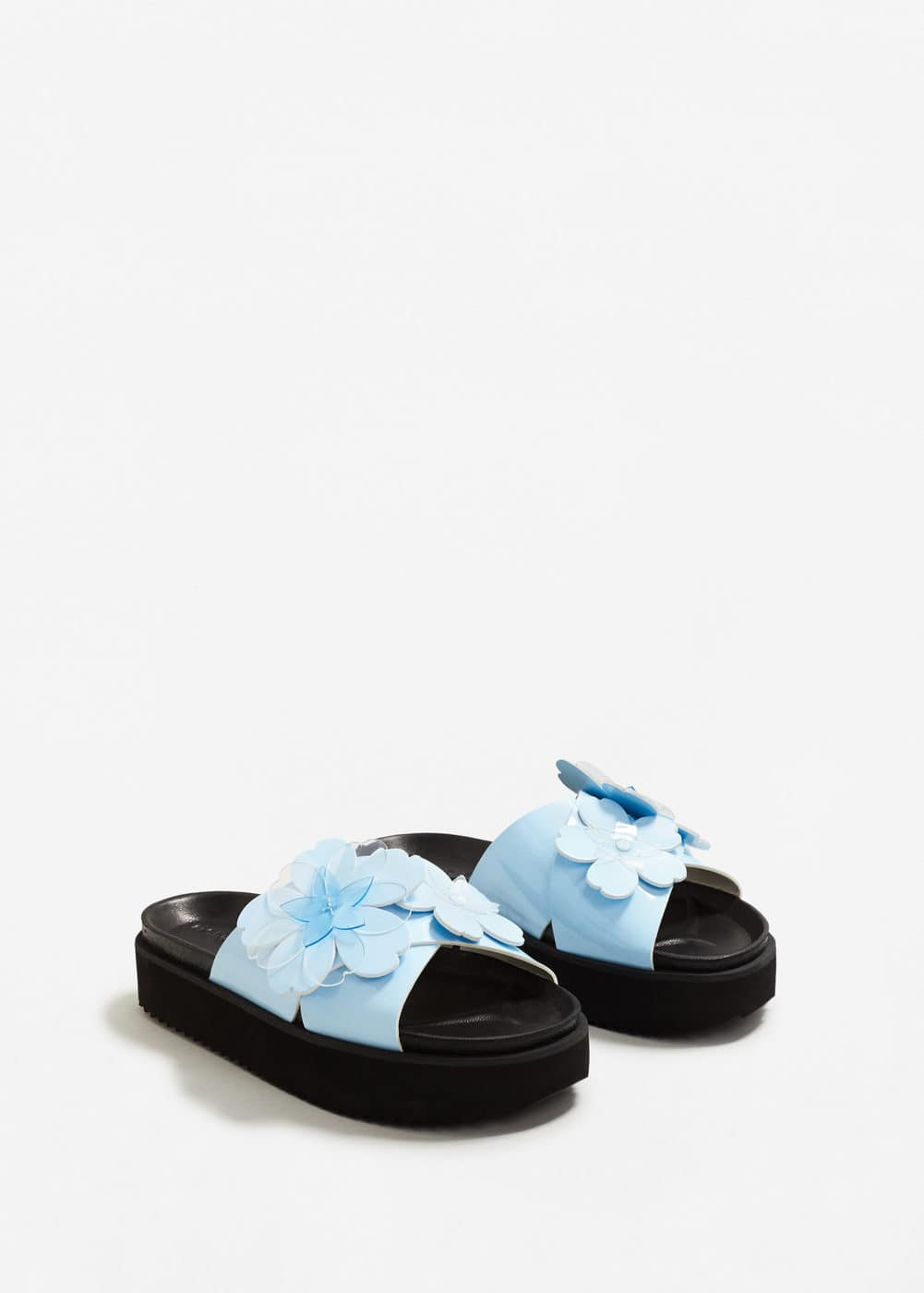Flower appliqué platform sandals | MANGO