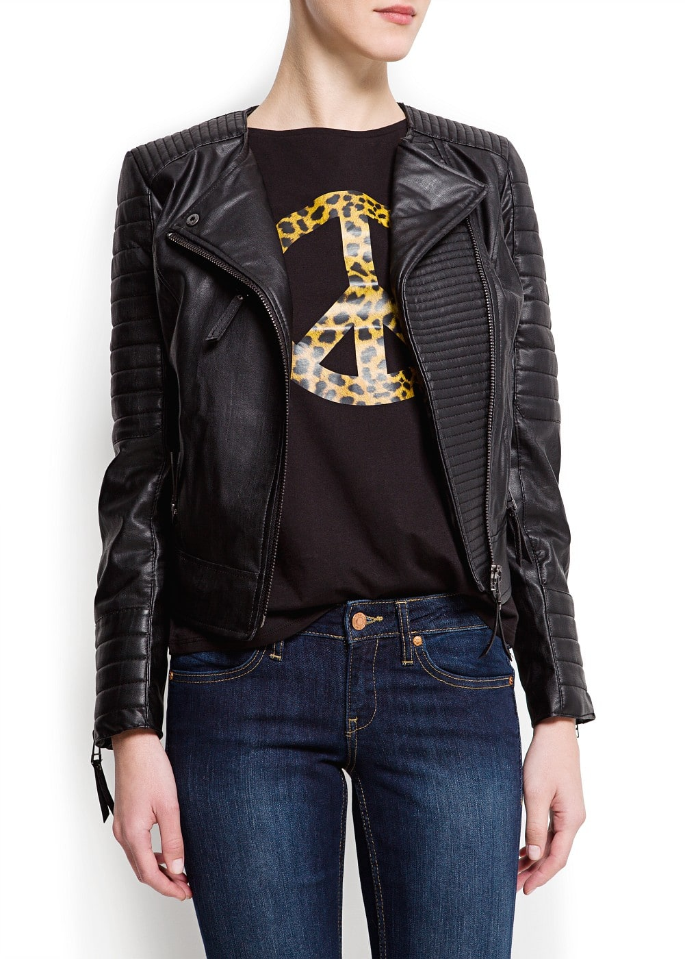 Padded panels biker jacket | MANGO