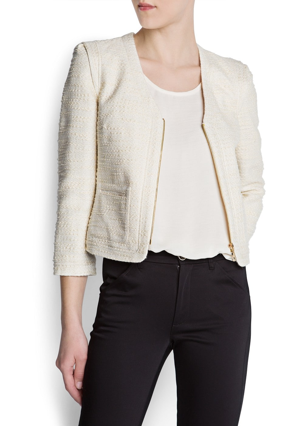 Metallic bouclé jacket | MANGO