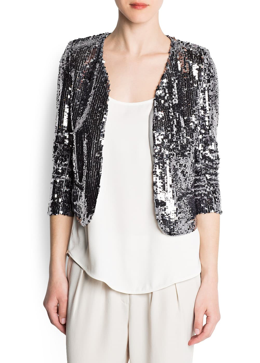 Sequined crop jacket | MANGO