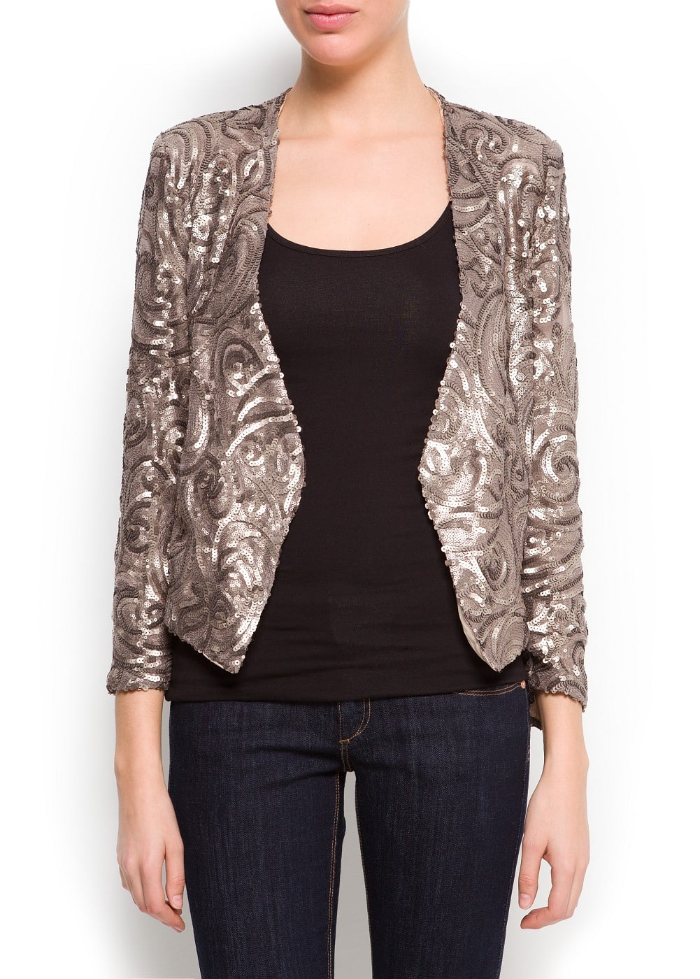 Sequined asymmetric blazer | MANGO