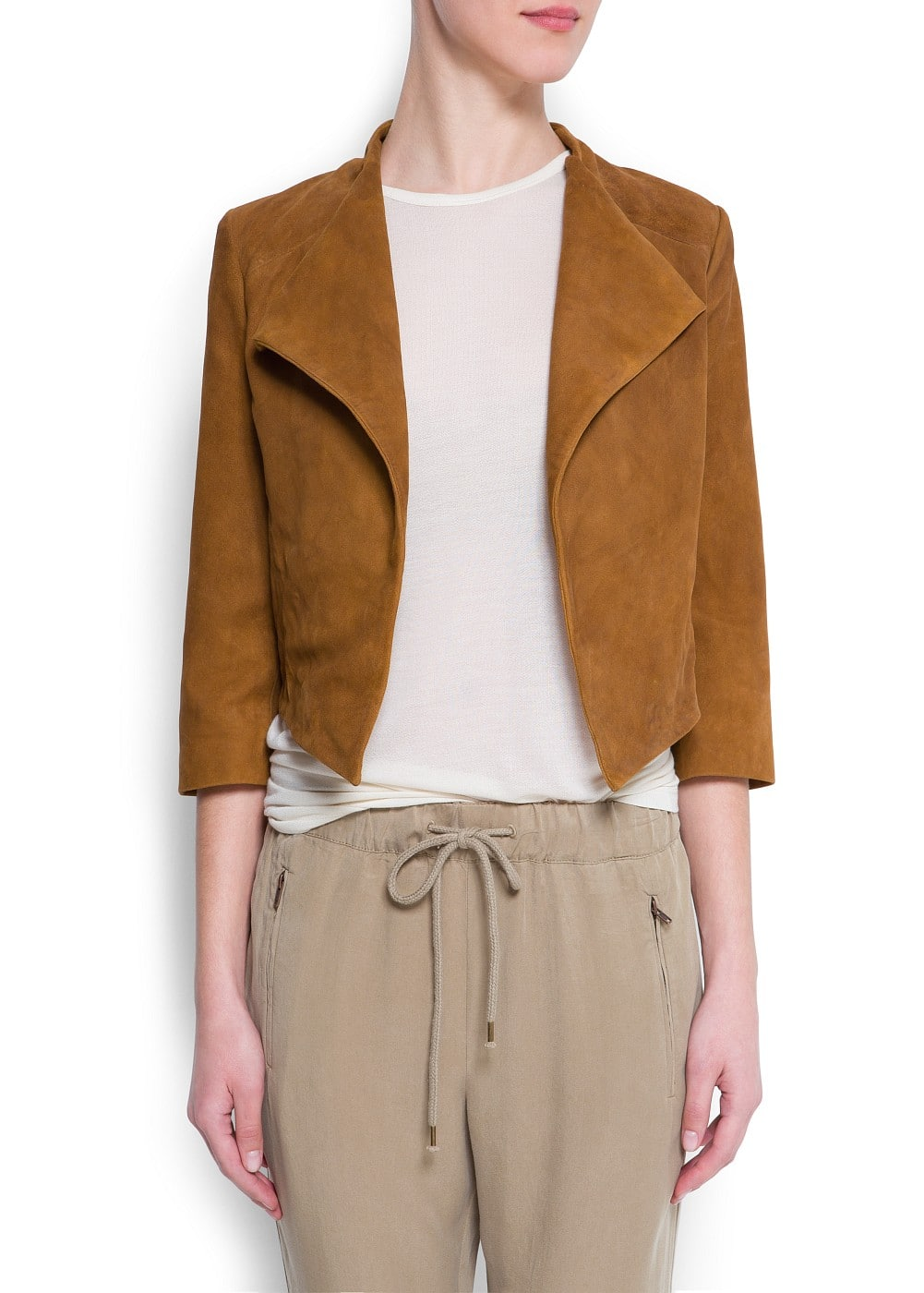 Suede cropped jacket | MANGO