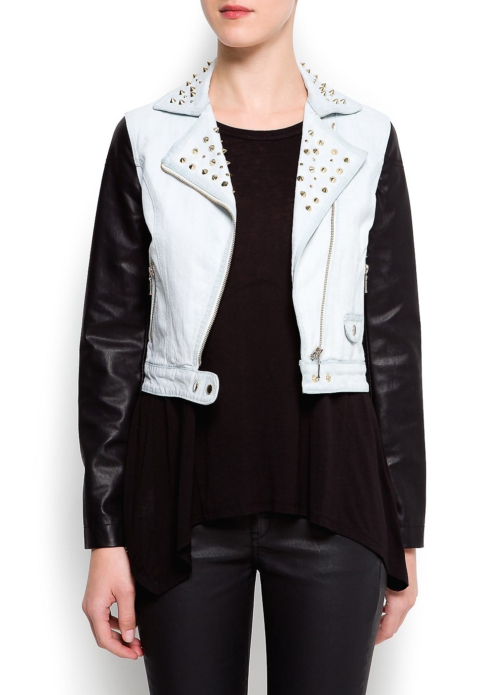 Contrast sleeves denim jacket | MANGO