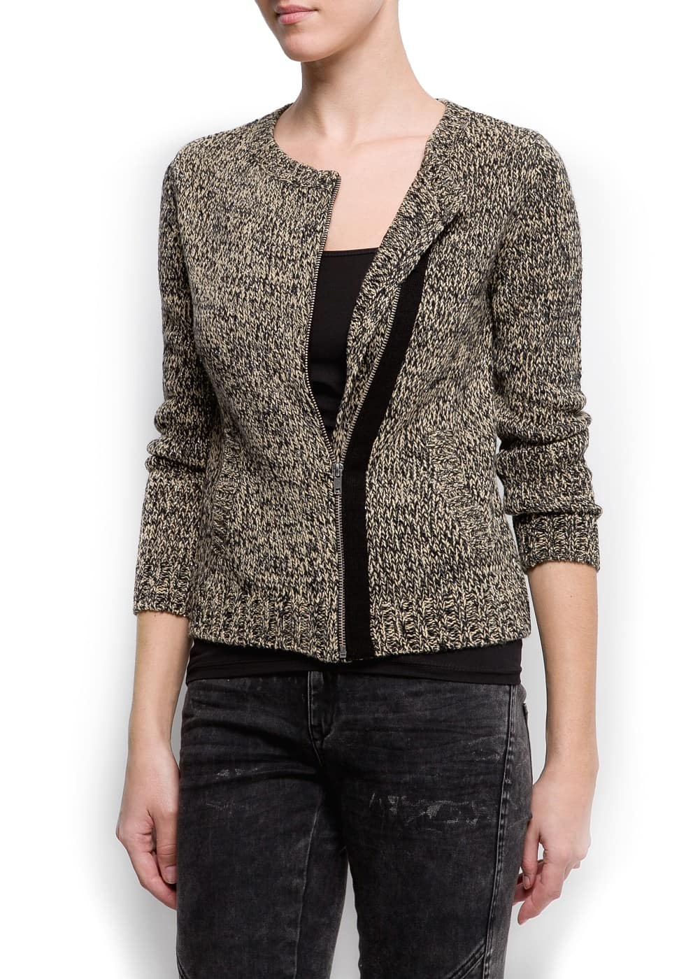 Zipped flecked cardigan | MANGO