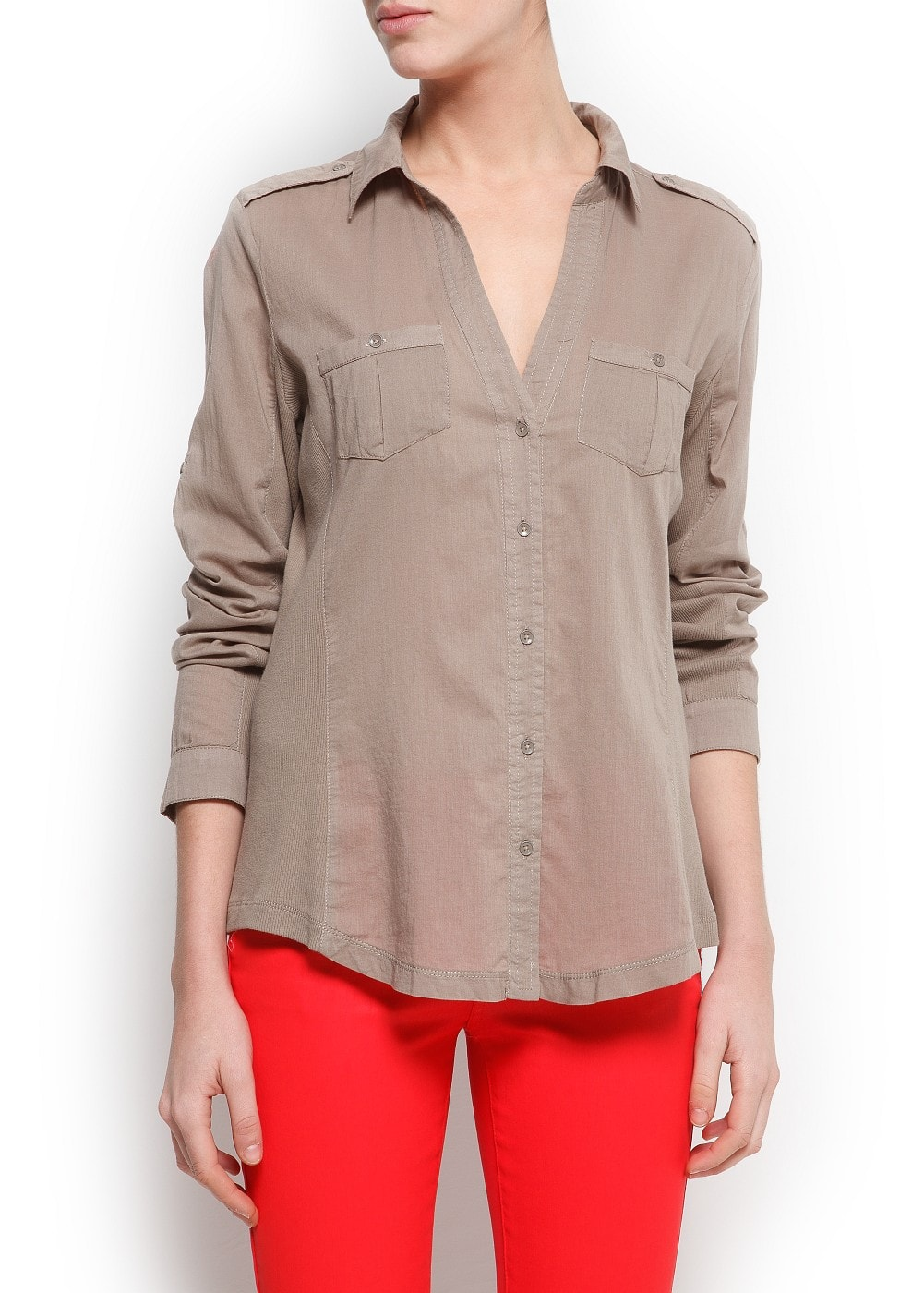 Ribbed panels shirt | MANGO