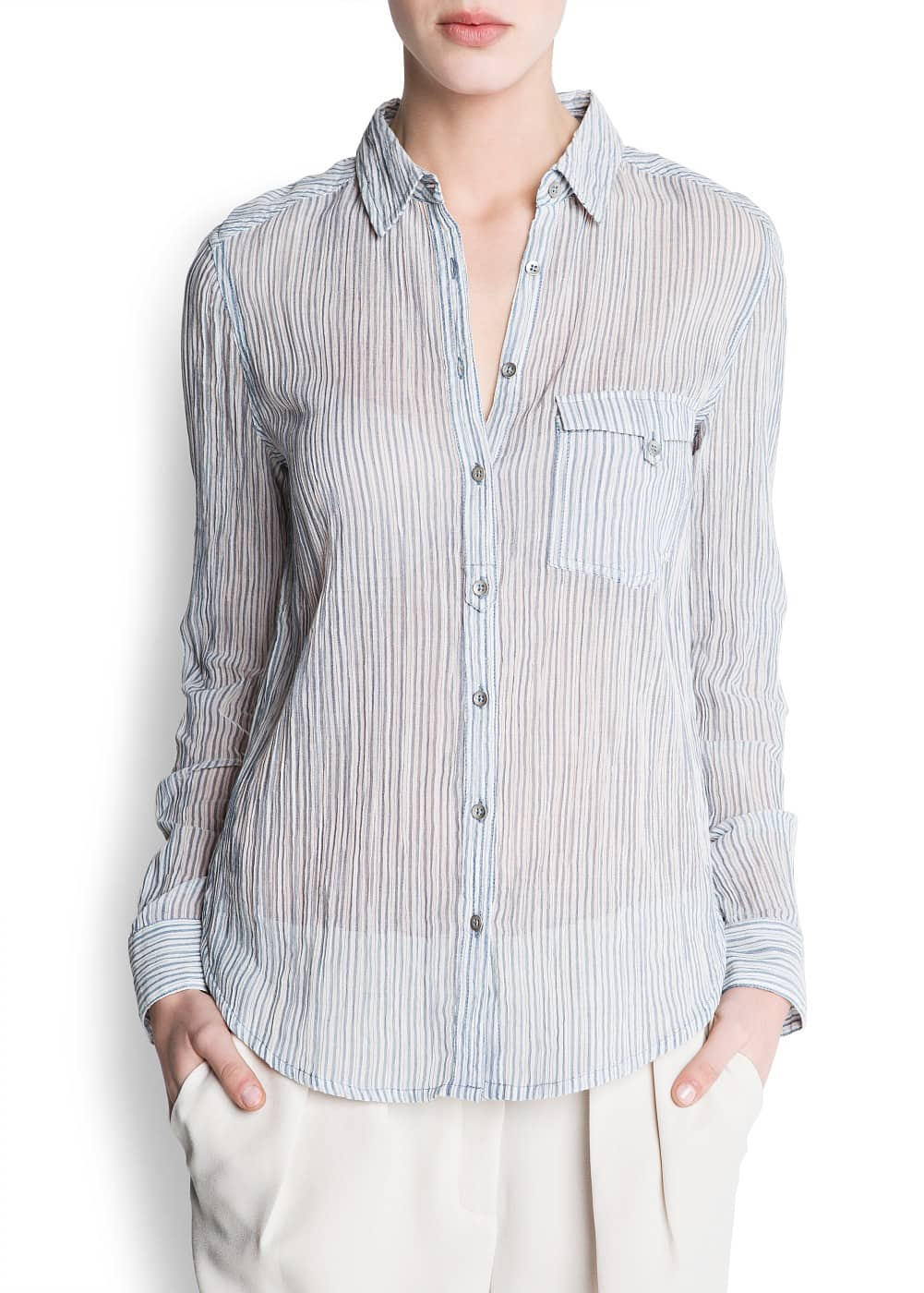 Cotton striped shirt | MANGO