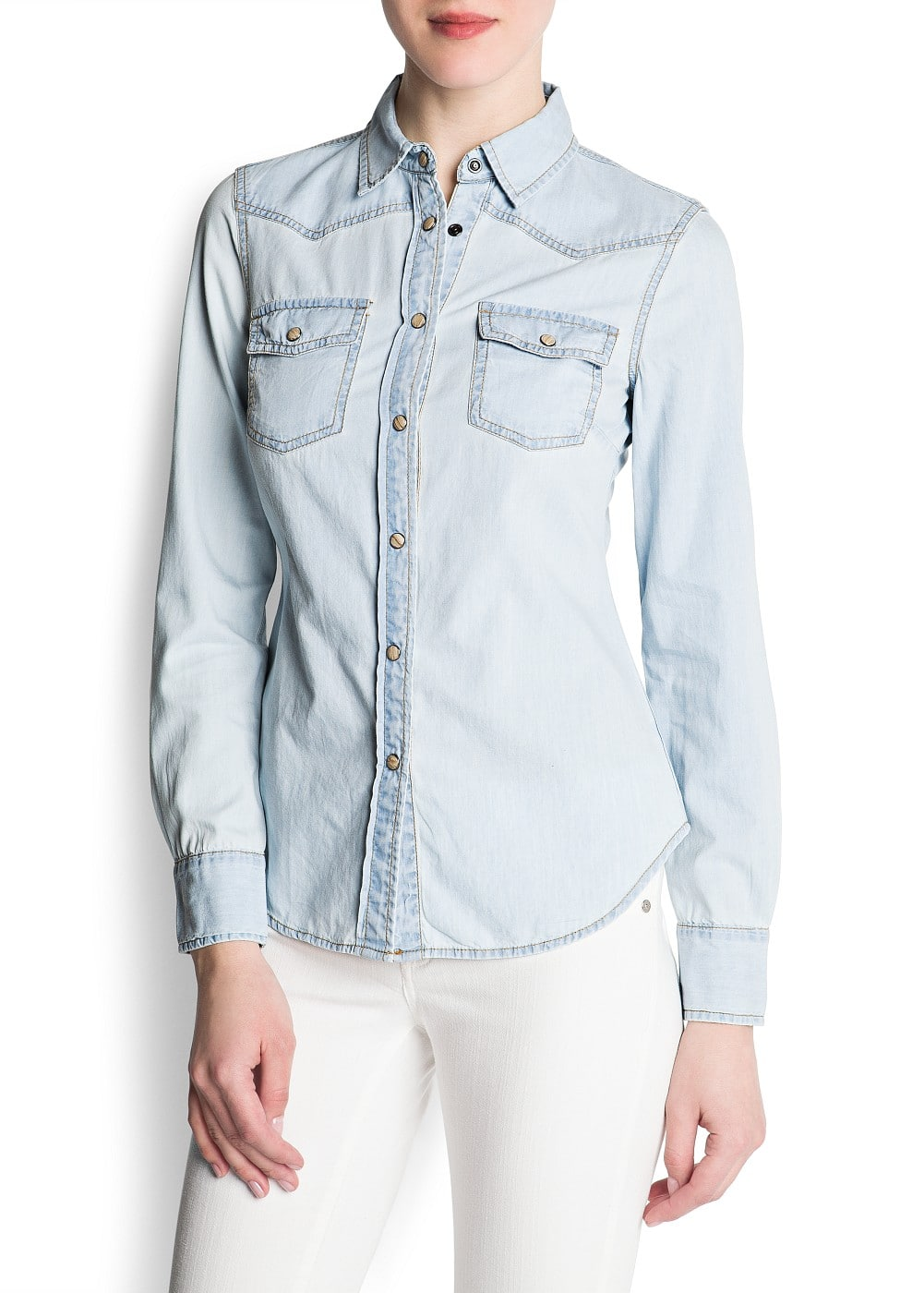 Bleached denim shirt | MANGO