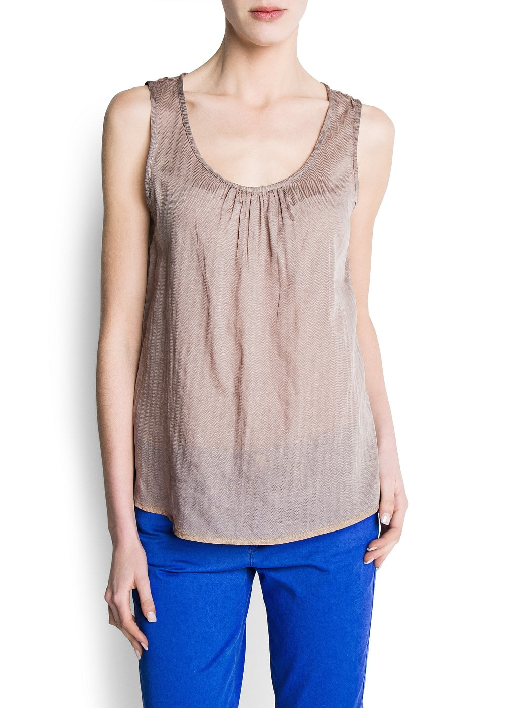 Asymmetric hems top | MANGO