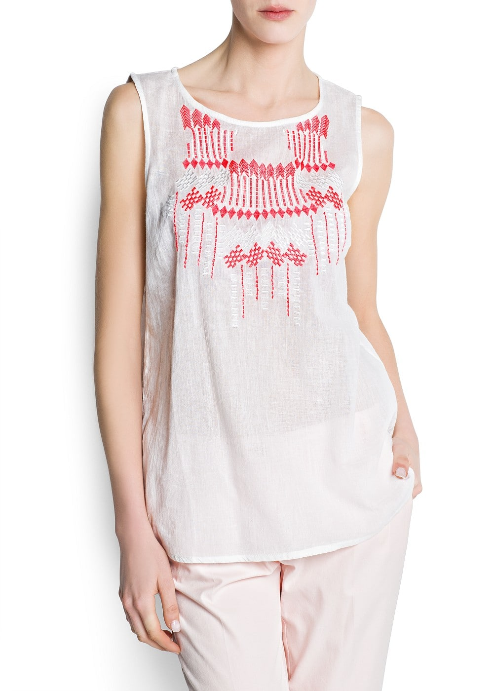 Neon embroidered cotton top | MANGO