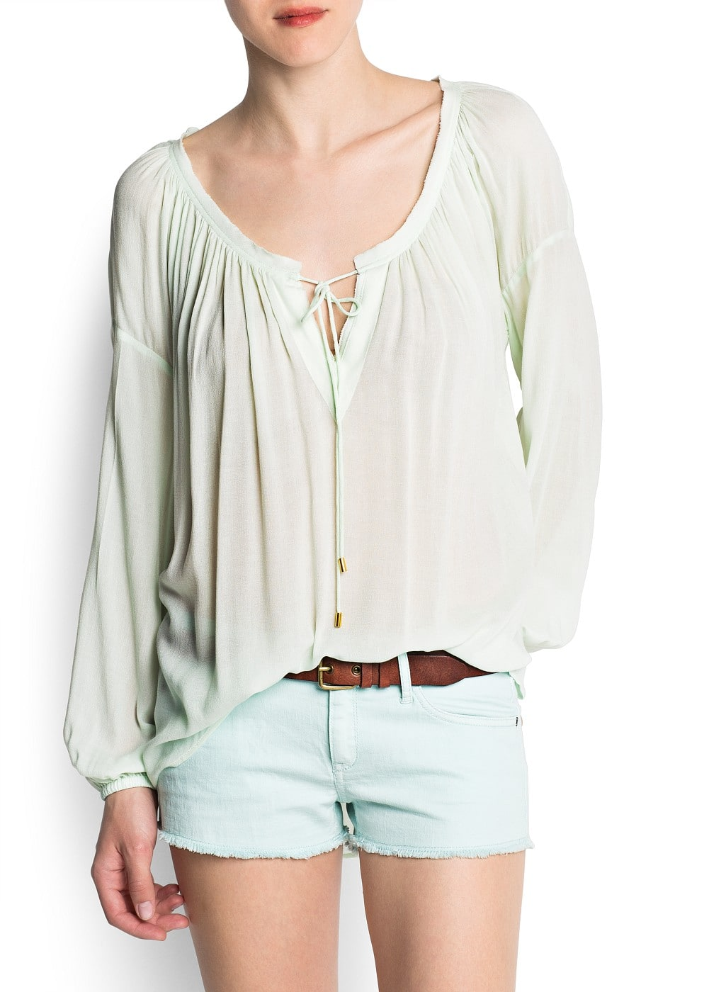 Gathered neckline blouse style top | MANGO