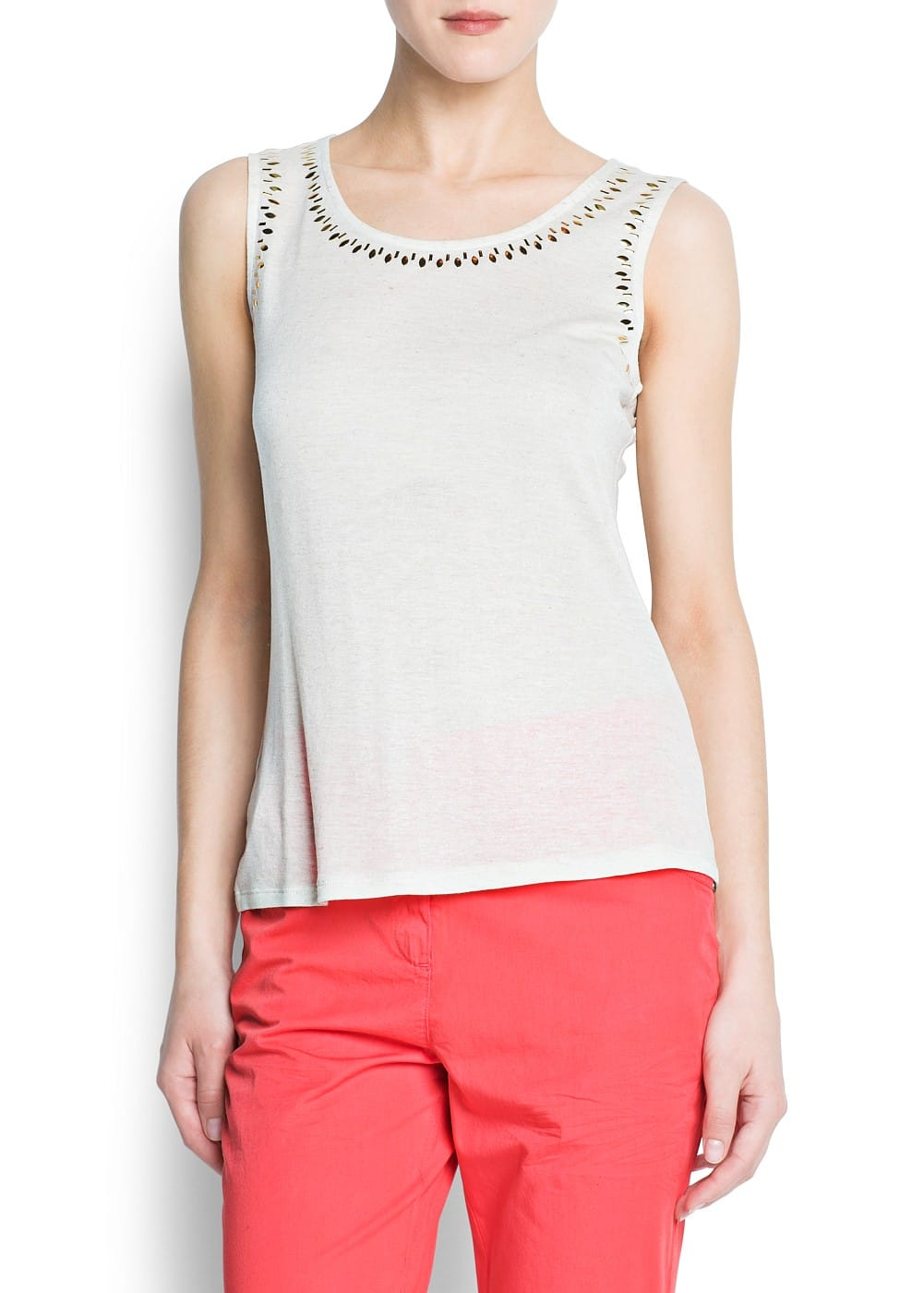 Glitter sleeveless top | MANGO
