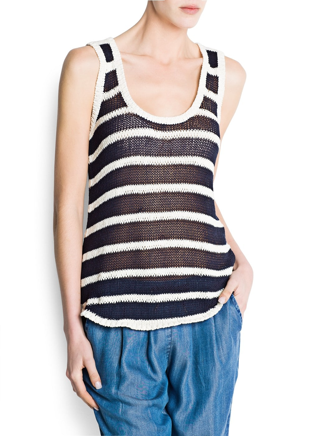 Striped knit top | MANGO