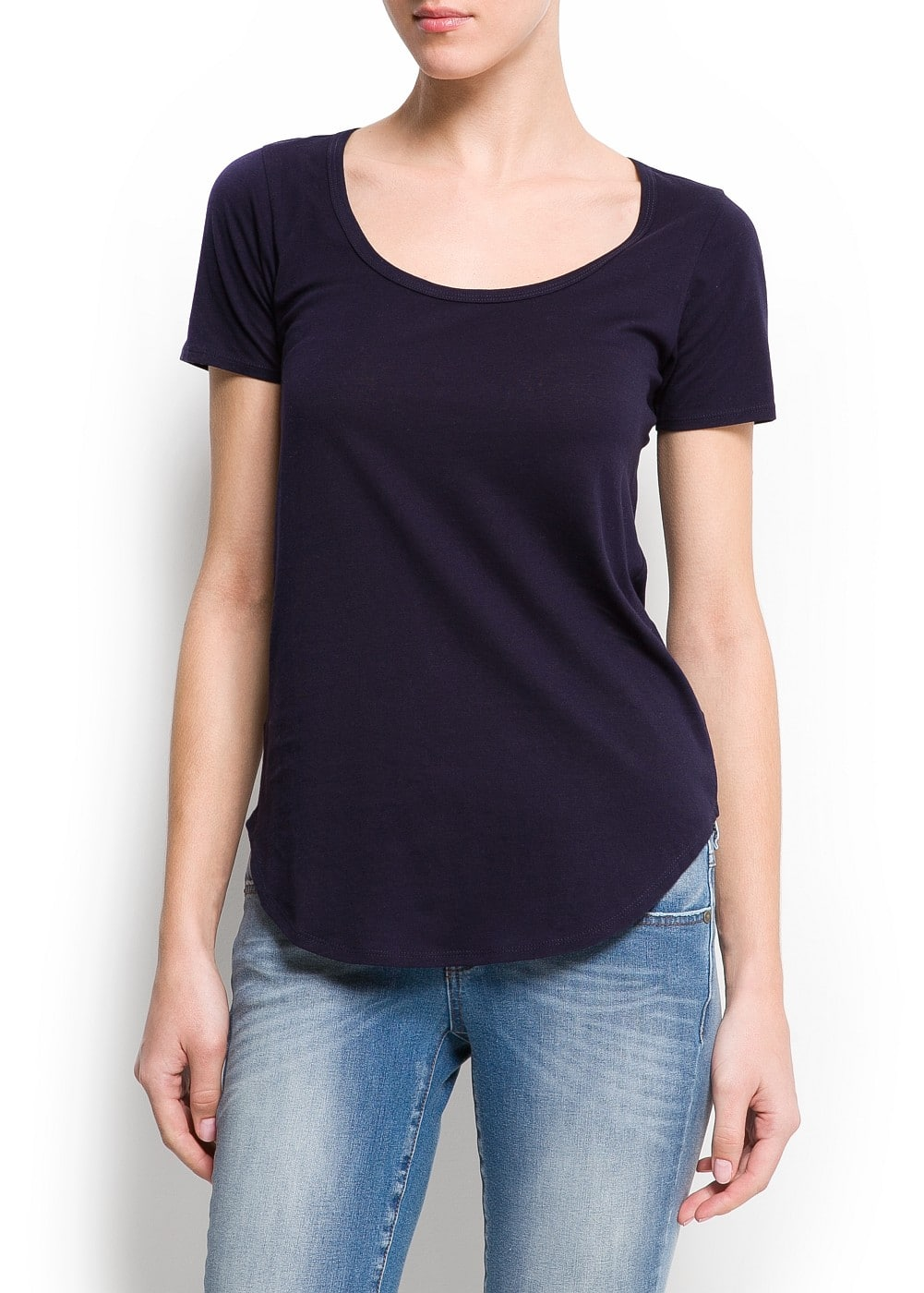 Cotton scoop neck t-shirt | MANGO
