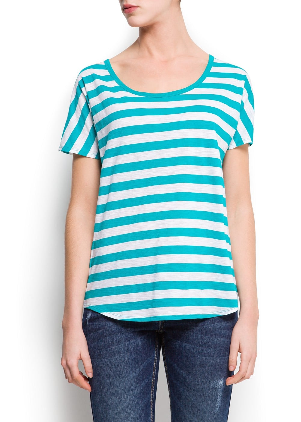 Mesh panel striped t-shirt | MANGO