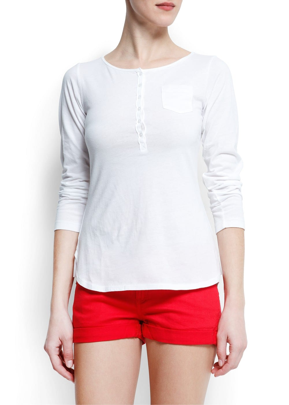 Cotton henley t-shirt | MANGO