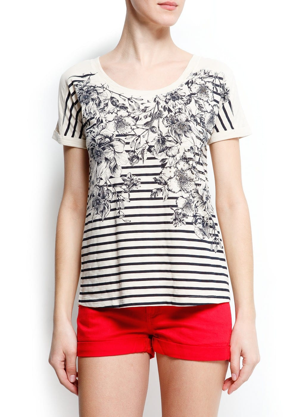 Flowers and striped t-shirt | MANGO