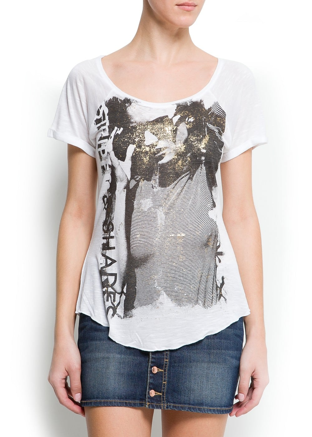 Metallic printed t-shirt | MANGO