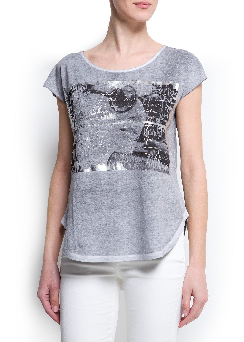 Metallic message photo t-shirt | MANGO