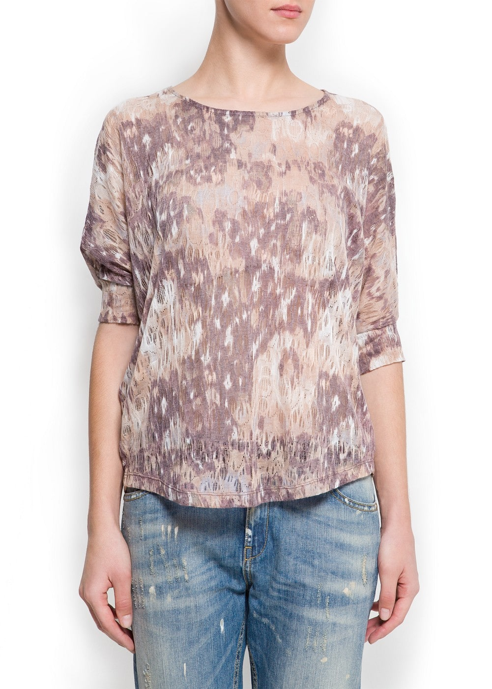 Printed shredded t-shirt | MANGO