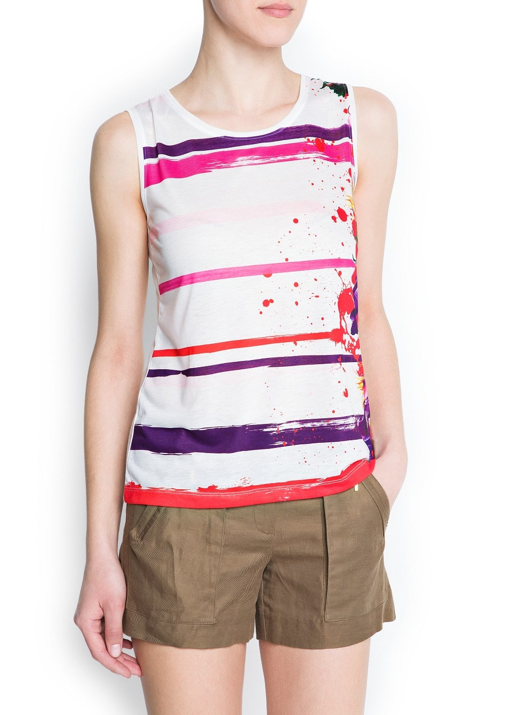 Paint striped t-shirt | MANGO