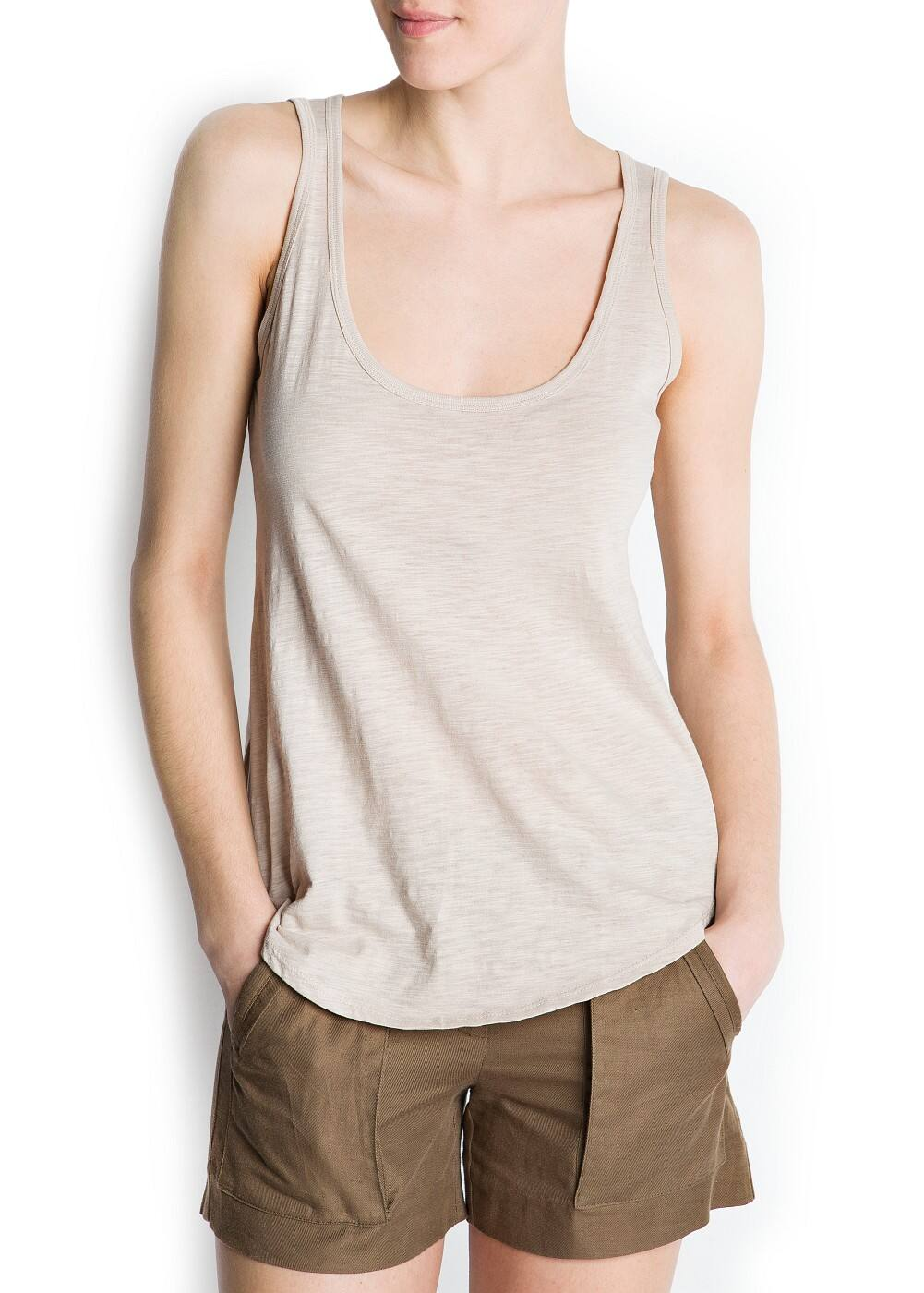 Devoré sleeveless t-shirt | MANGO