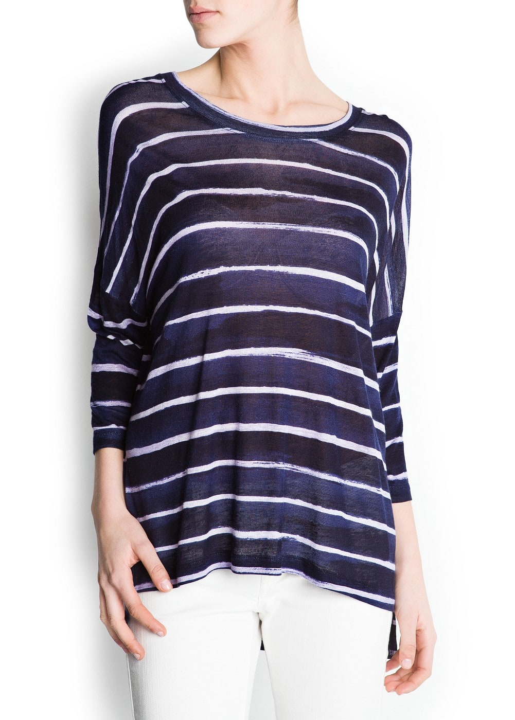 Oversized striped t-shirt | MANGO