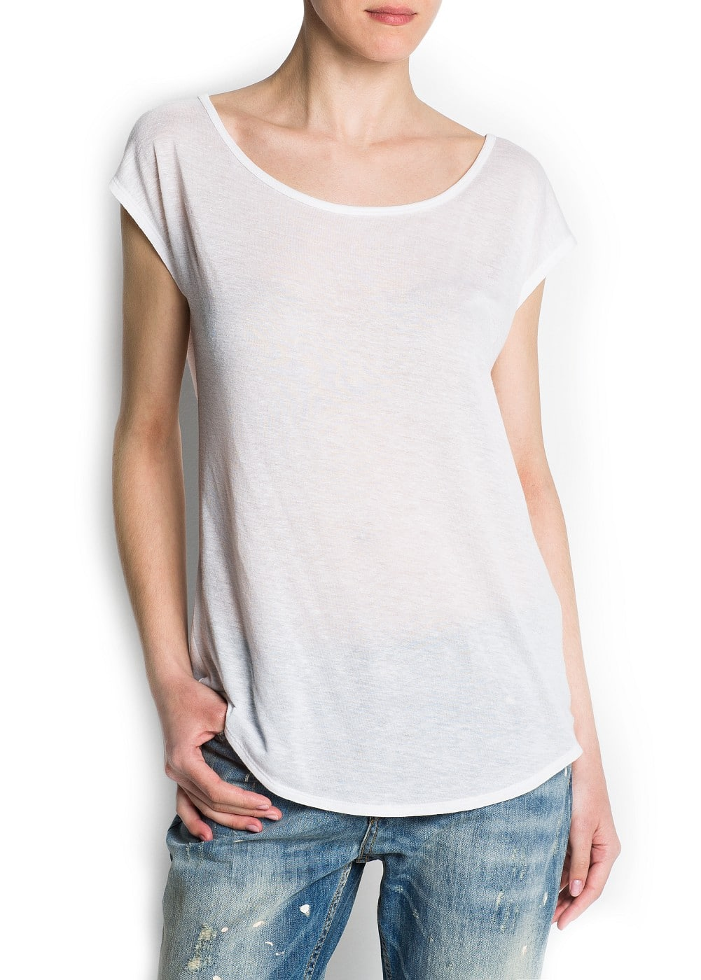 Oversized devoré cotton t-shirt | MANGO