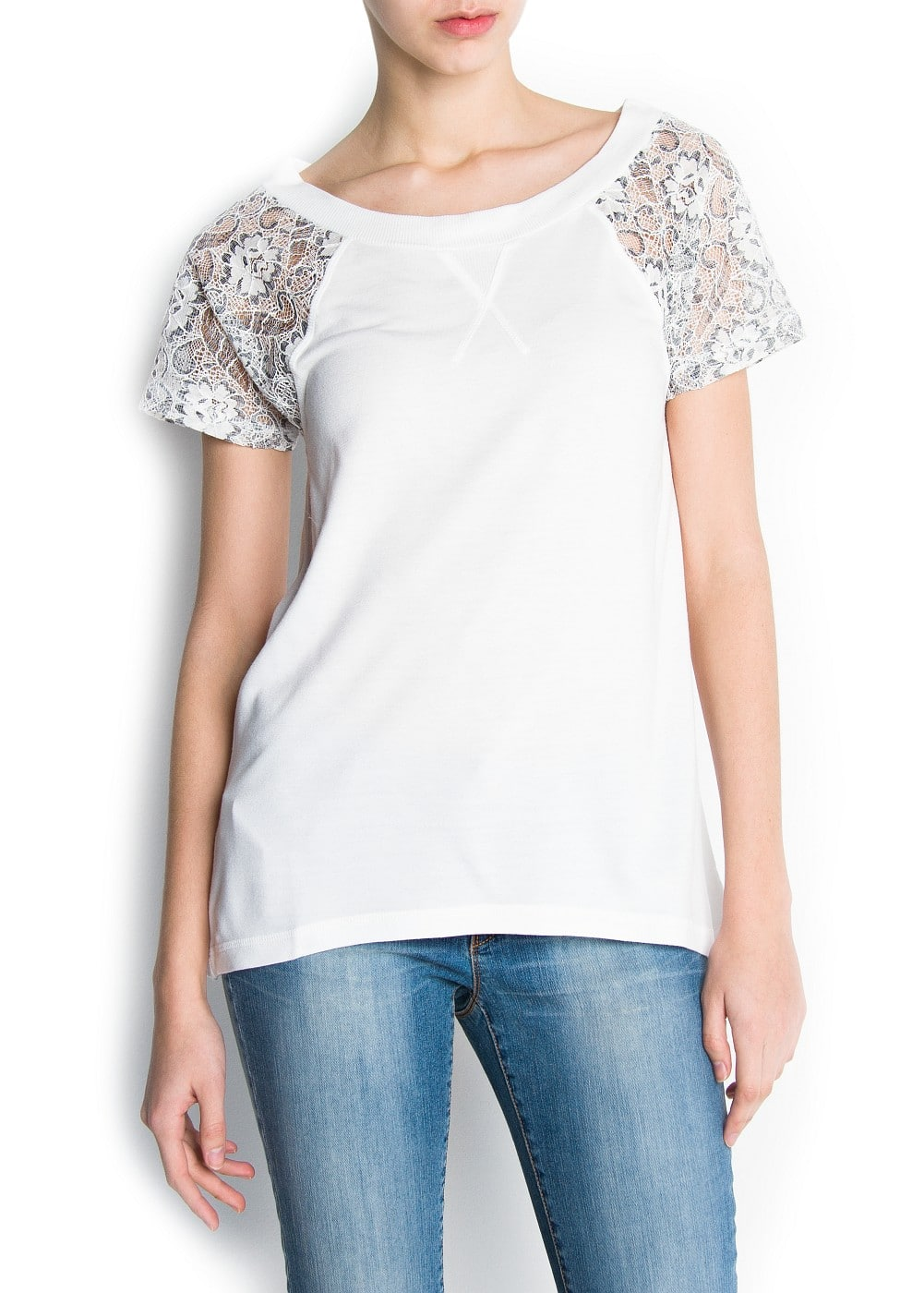 Lace sleeved t-shirt | MANGO