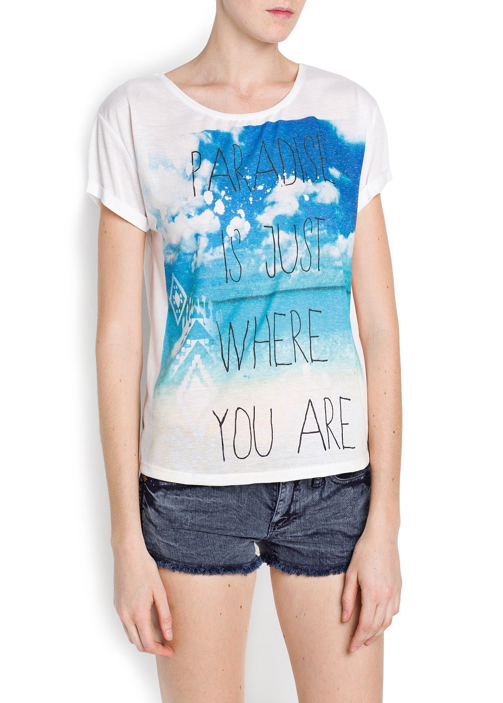 Beach and typographic print t-shirt | MANGO
