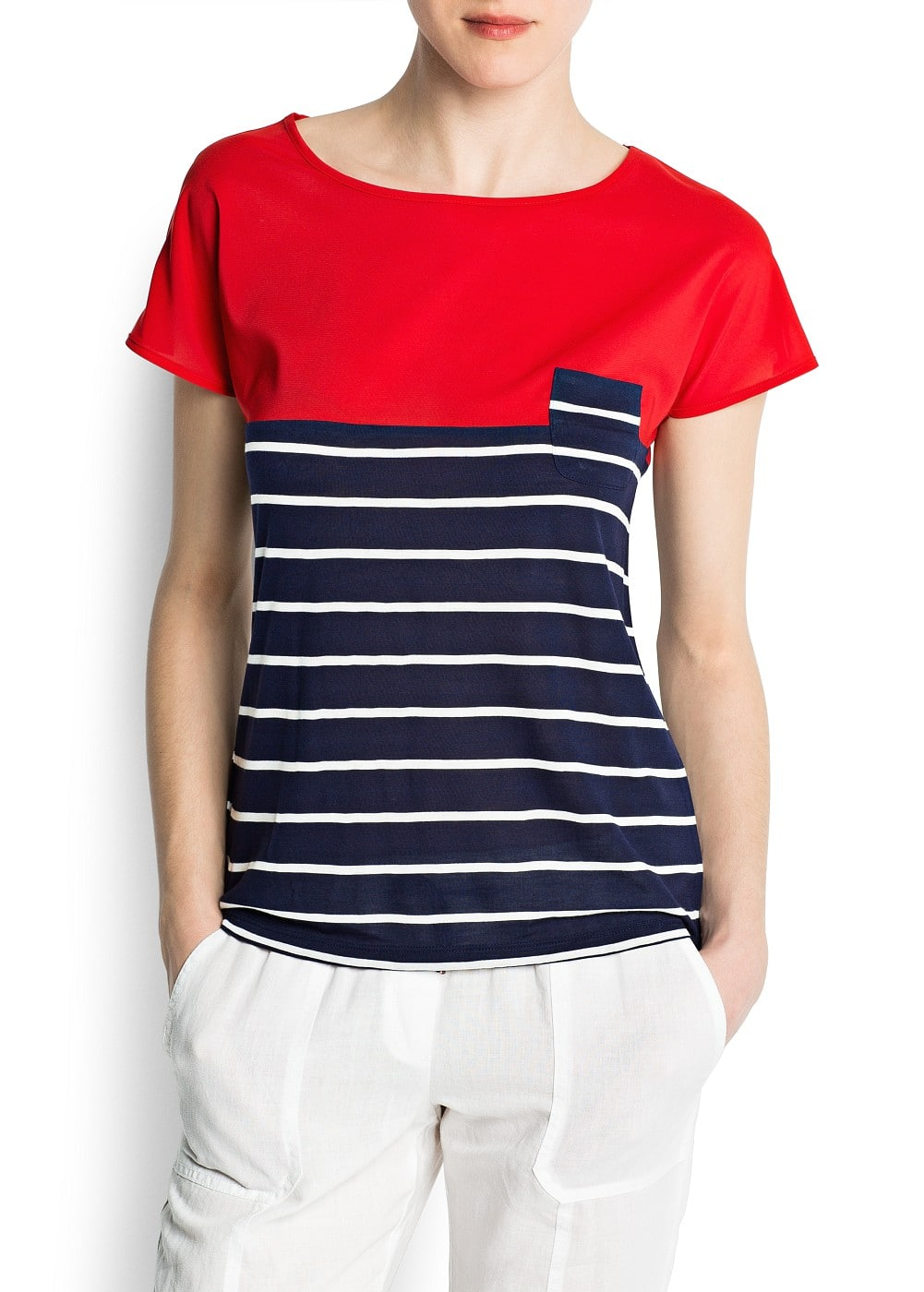 Stripes and sheer t-shirt | MANGO