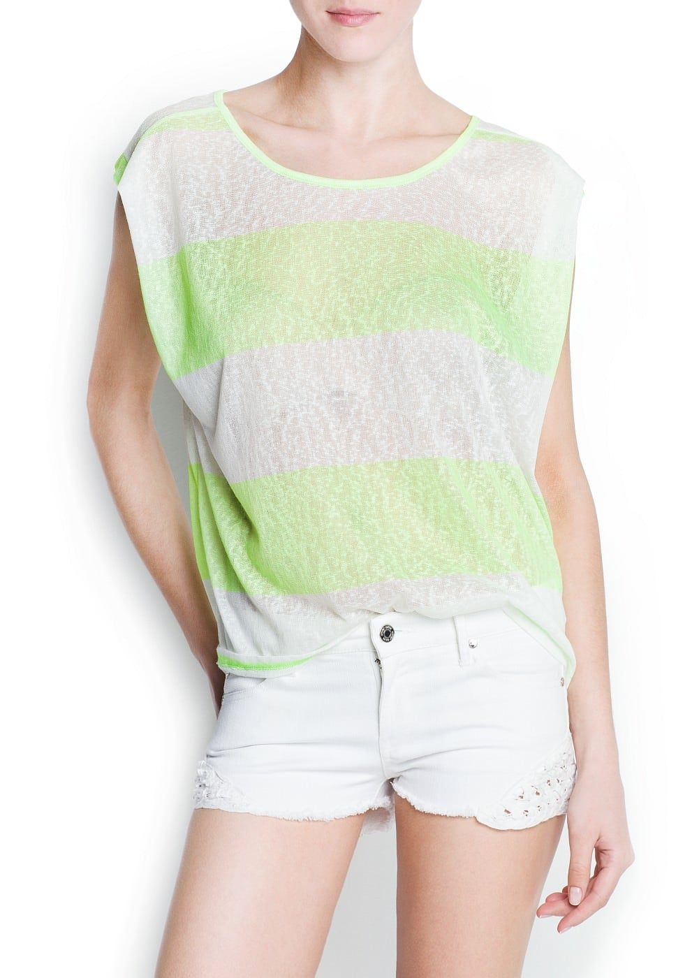 Neon striped t-shirt | MANGO