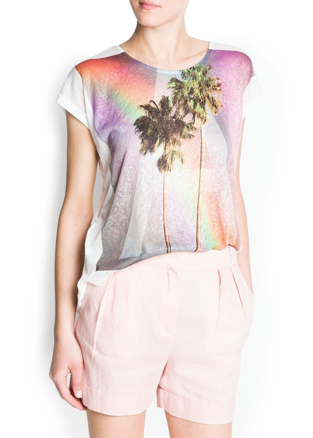 Palm printed t-shirt | MANGO
