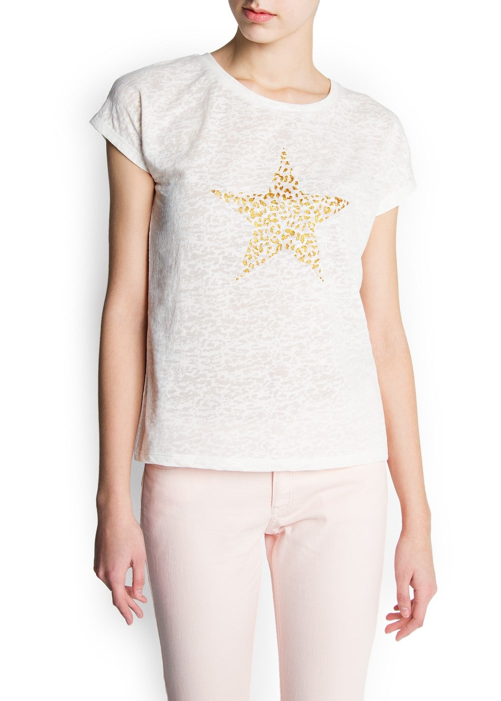 Star printed devoré t-shirt | MANGO