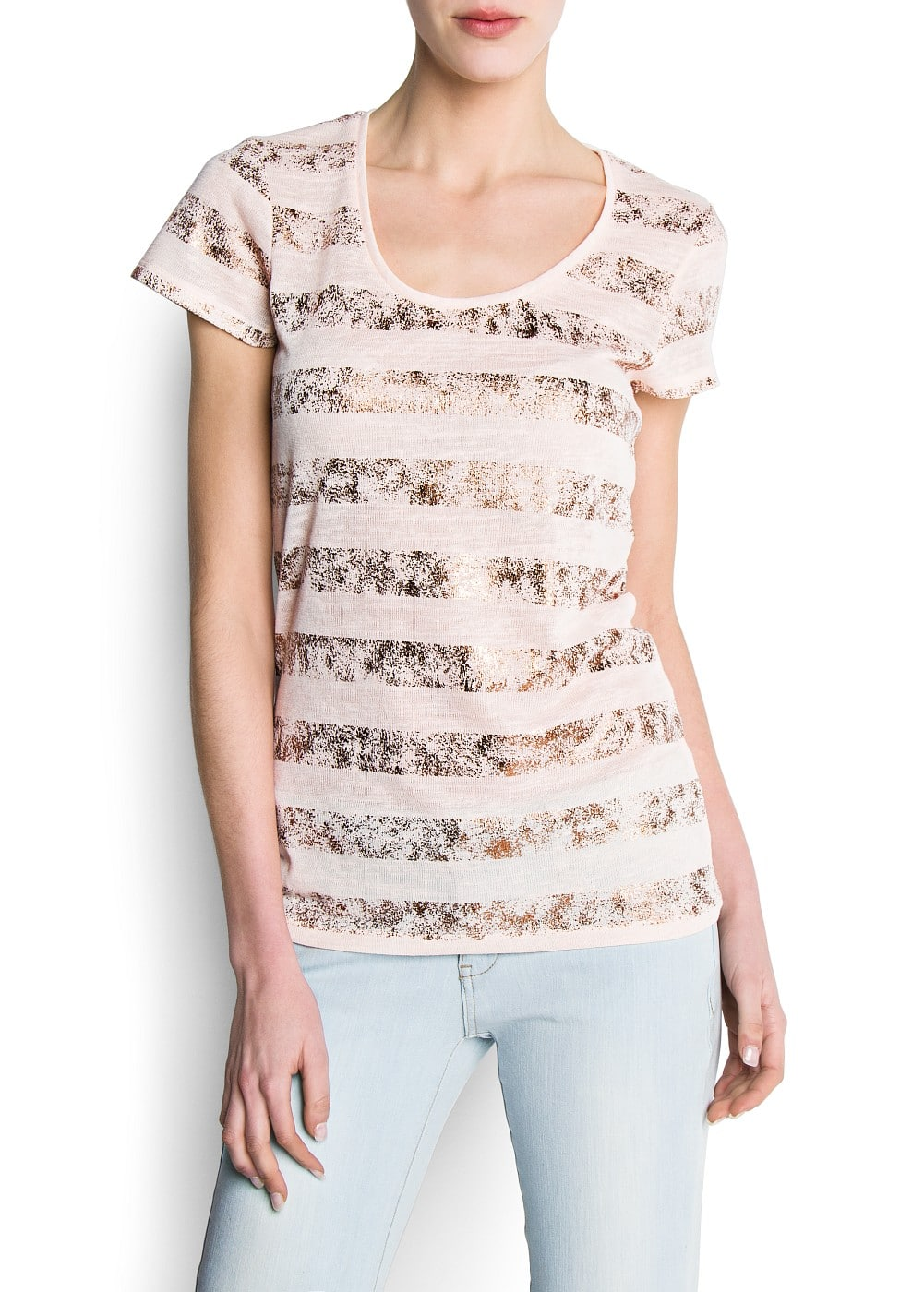 Metallic strips t-shirt | MANGO