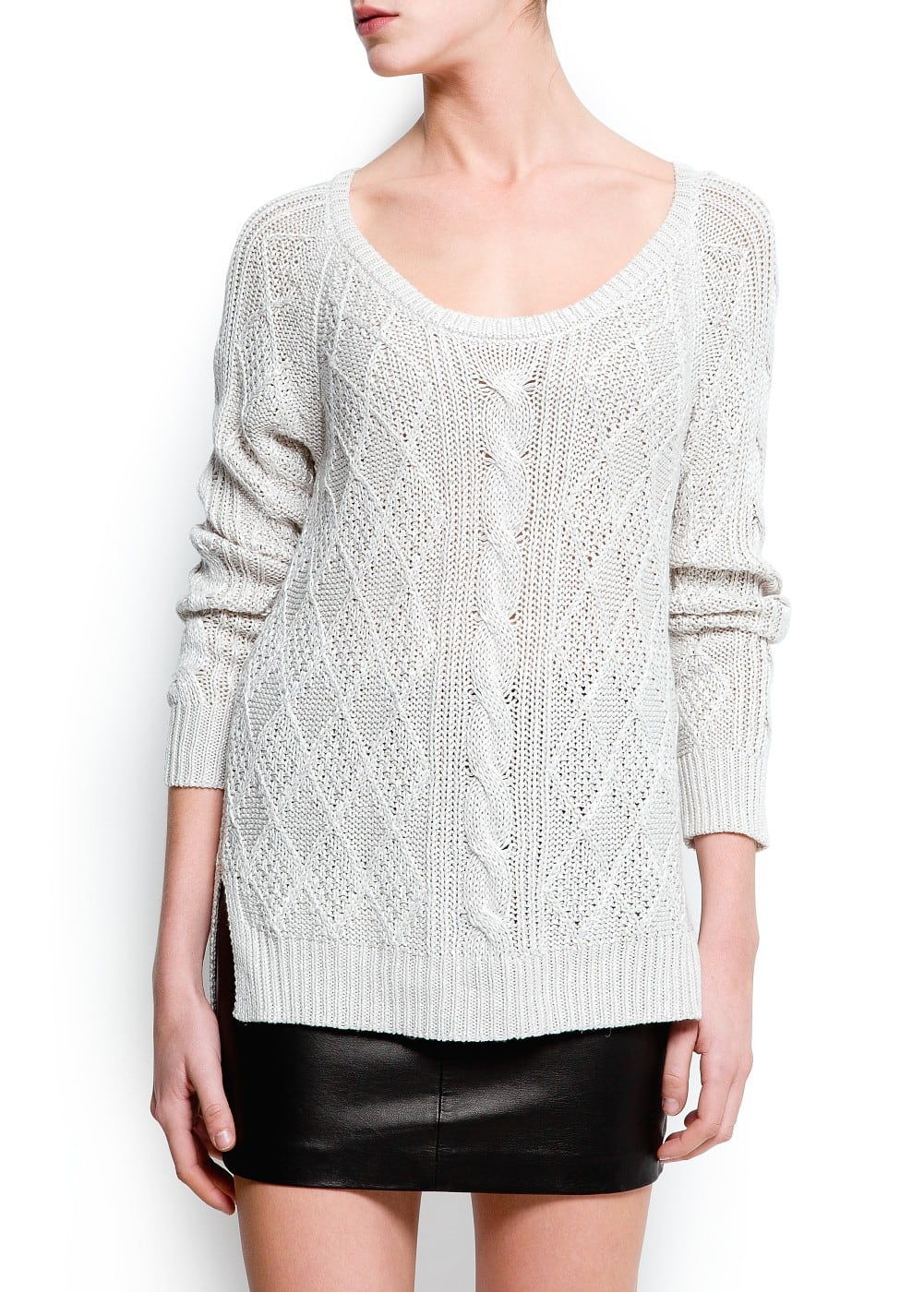 Cable knit long sweater | MANGO