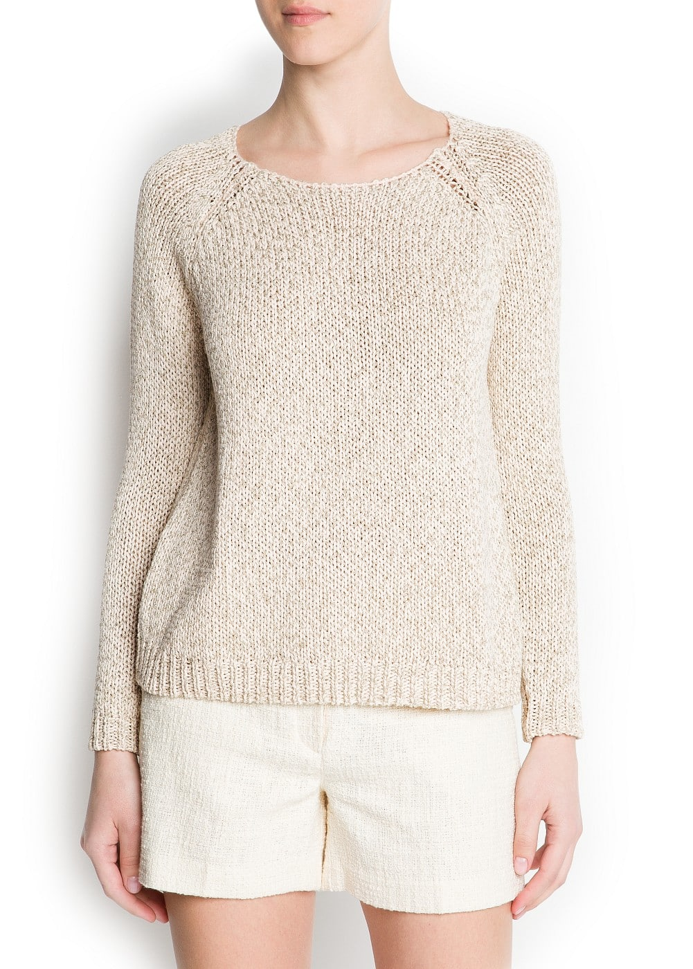 Metallic chunky knit sweater | MANGO