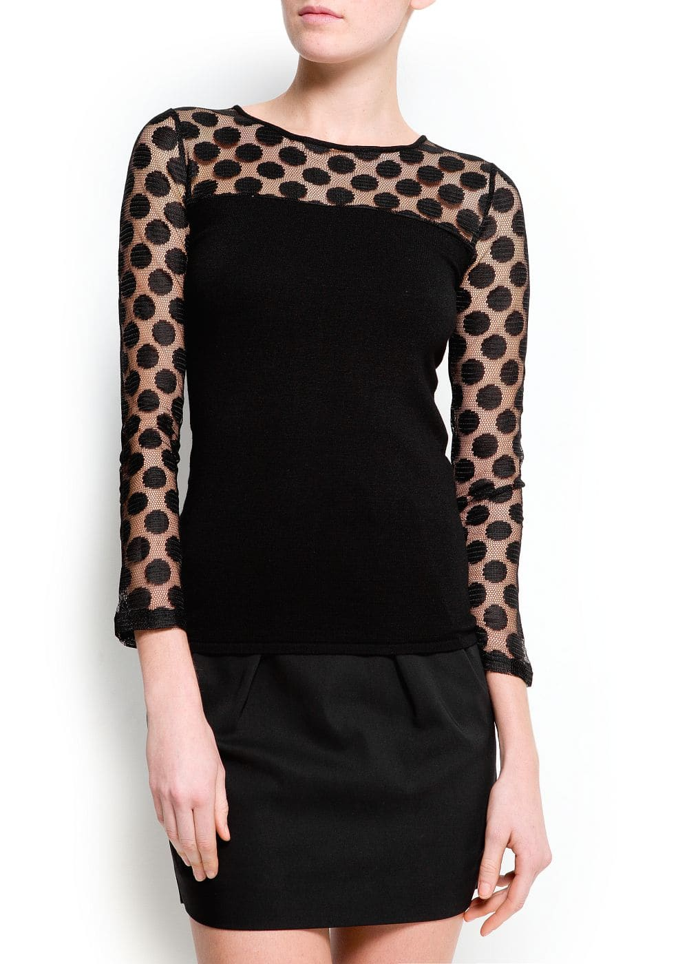Polka-dots panel sweater | MANGO