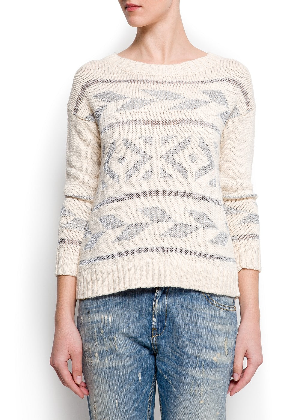 Tribal metallic sweater | MANGO