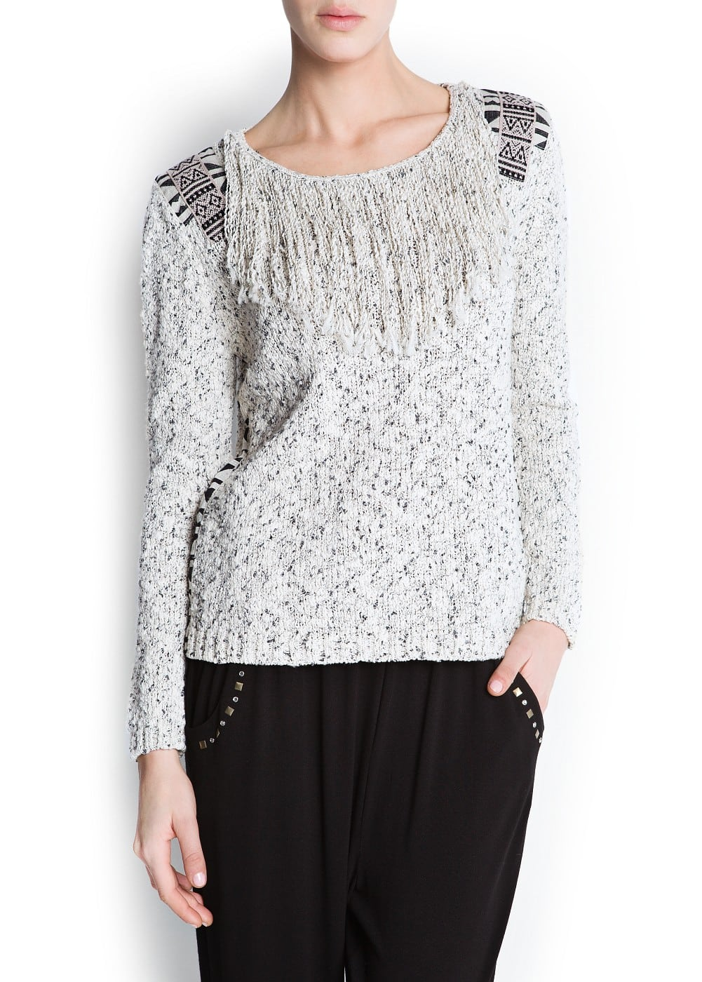 Tribal edgings jumper | MANGO